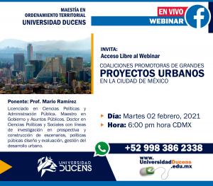 Webinar Gratuito:Coaliciones Promotoras de Grandes Proyectos Urbanos en la ciudad de México